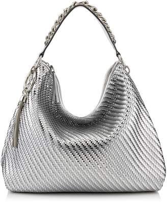 Jimmy Choo Large Woven Metallic Callie Shoulder Bag