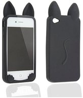 Koko Cute Cat Ear Design Silicone Skin Back Cover Case for Iphone 4 4s 4g Black