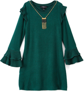 Amy Byer Green Ruffle-Sleeve Shift Dress & Necklace - Girls