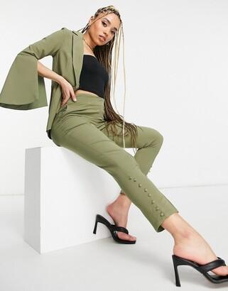 Little Mistress split front tailored trousers co-ord in khaki