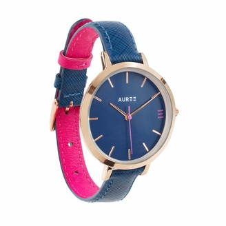 Auree Jewellery Montmartre Rose Gold Watch With Royal Blue & Hot Pink Strap