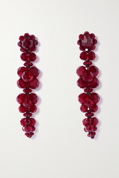 Simone Rocha Gold-tone Crystal Earrings - Burgundy