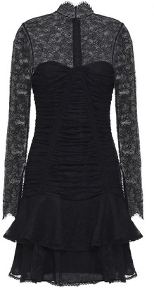 Jonathan Simkhai Tiered Ruched Chantilly Lace Mini Dress