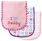 Luvable Friends Pink 'I Love Daddy' Burp Cloth Set