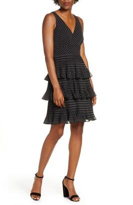 Eliza J Tiered Pleat Chiffon Dress