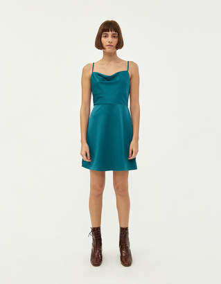 Which We Want Caspen Cowl Neck Mini Dress in Teal
