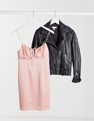 Topshop gathered bust mini slip dress in blush