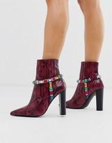Asos Design DESIGN Empire embellished western boots in pink snake
