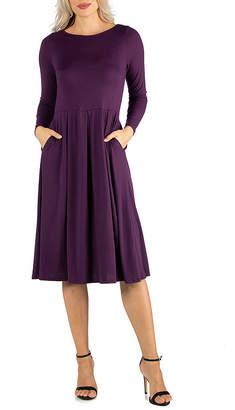 24/7 Comfort Apparel Midi Fit and Flare Dress