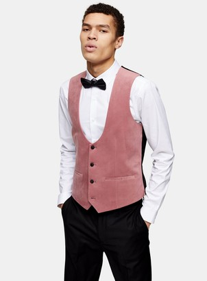 Topman Pink Velvet Skinny Fit Single Breasted Suit Waistcaot