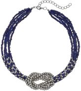 Blue Seed Bead Knotted Necklace