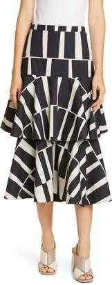 Johanna Ortiz Print Cotton Poplin Tiered Midi Skirt