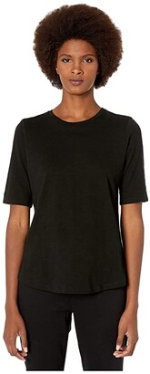 Eileen Fisher Round Neck Elbow Top (Black) Women's Clothing