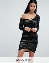 Asos Mesh Ruched Off The Shoulder Mini Bodycon