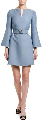 Valentino Wool-Silk Belted Bell-Sleeve Dress