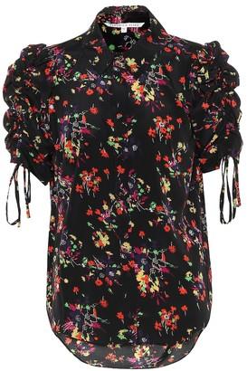 Veronica Beard Carmine floral stretch silk top