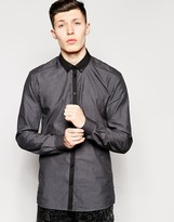 Minimum Shirt With Contrast Collar In Regular Fit