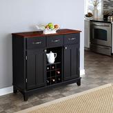 Home Styles Three-Drawer 41.75 in. W Black Buffet with Cherry Wood Top