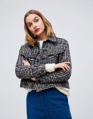Free People Eisenhower slouchy checked jacket-Black