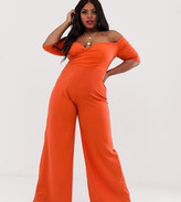 Club L London Plus bardot wide leg jumpsuit in orange