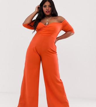 Club L London Plus bardot wide leg jumpsuit in orange