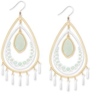 Lucky Brand Two-Tone Stone & Imitation Coin Pearl Orbital Drop Earrings