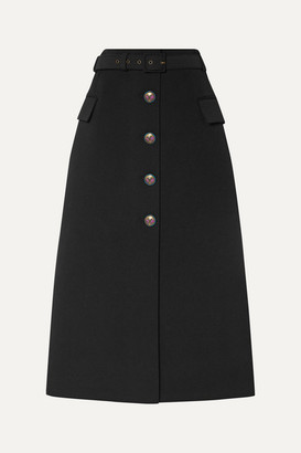 Givenchy Belted Wool-blend Twill Midi Skirt - Black