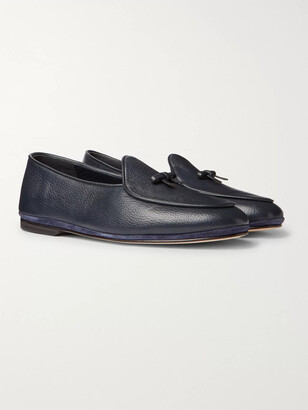 Rubinacci Marphy Leather-Trimmed Velvet Tasselled Loafers