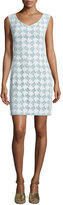 Tory Burch Brooklyn Sleeveless Lace Sheath Dress, White/Mint