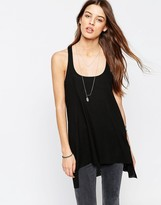 Asos Tank With Step Back Hem In Rib