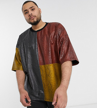 Asos DESIGN Plus festival oversized t-shirt with half sleeve and faux animal color block