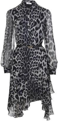 Blumarine Leopard Midi Dress With Asymmetrical Bottom