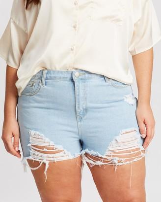 boohoo Plus Extreme Rip Denim Shorts