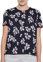 French Connection Women's Floral Print Short Sleeved Crepe Top