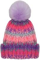 M&Co Rainbow stripe pom pom beanie hat