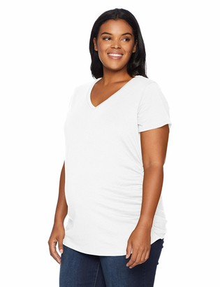 Motherhood Maternity Women's Maternity Plus Size Short Sleeve V-Neck Side Ruched Tee Shirt