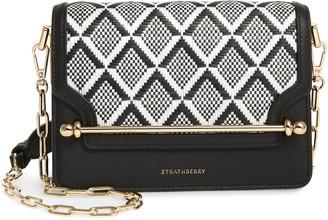 Strathberry Monochrome Weave Mini East/West Calfskin Leather Crossbody Bag