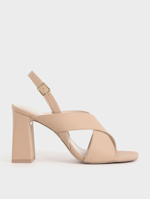 Charles & Keith Criss-Cross Slingback Heeled Sandals