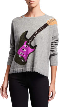 LISA TODD Guitar Cashmere Sweater w/ Slit Neck Detail