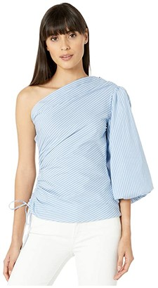 BCBGMAXAZRIA One Shoulder Stripe Top (Blue Combo) Women's Clothing