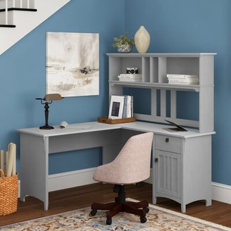 Three Posts Salina L-Shape Credenza Desk with Hutch Color: Cape Cod Gray