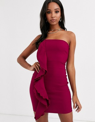 Vesper bandeau mini dress with ruffle detail in wine