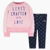 Levi's Newborn Girls L/S Woven Dress with Rib Waistband Legging Set (6-9 M)