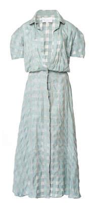 Leal Daccarett Malaquita Patterned Silk Shirt Dress
