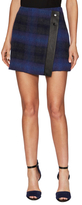 Karen Millen Blurred Wool Plaid Asymmetrical Skirt