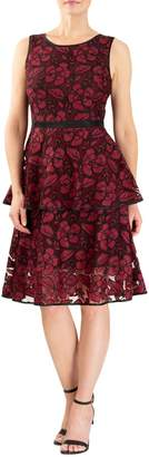 Forest Lily Tiered Lace Fit--Flare Dress