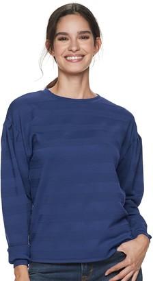 Apt. 9 Petite Pleated Sleeve Crewneck Sweatshirt
