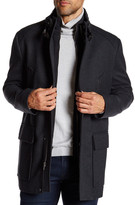 Cole Haan Genuine Leather Trimmed Twill Car Coat