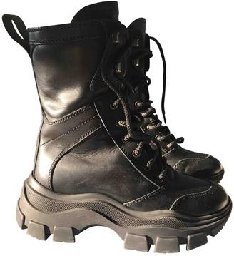 Prada Block Combat Black Leather Boots