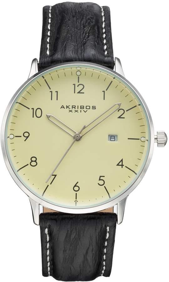 Akribos XXIV Men's Element Leather Swiss Watch